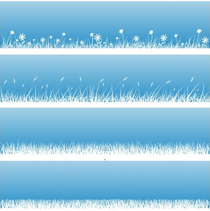 flowers grass silhouette design vectors
