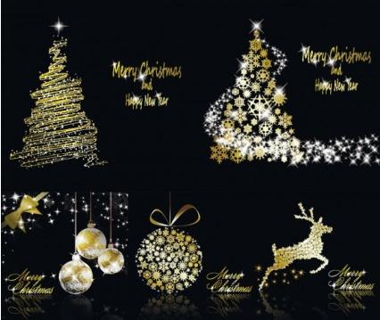glittering christmas element vector