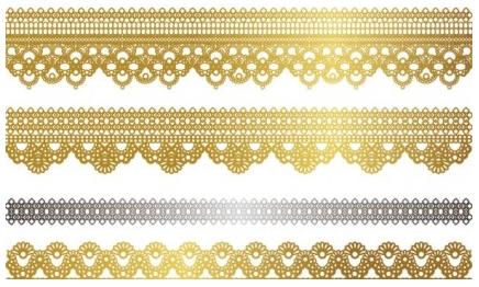gold lace pattern 02 vectors graphic