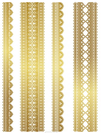 gold lace pattern 03 set vector