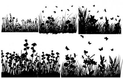 grass and butterflies silhouette vector