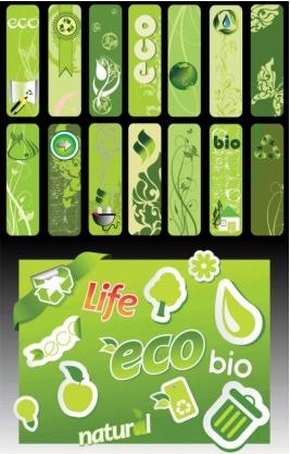 green living banner series vectors graphics