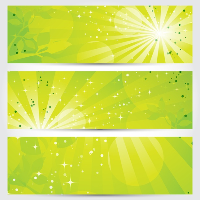 green shiny banner vector graphics
