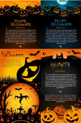 halloween posters element shiny vector