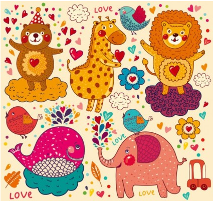 handpainted cartoon pattern 02 vectors