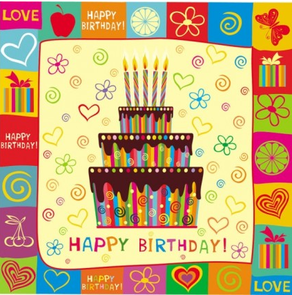 handpainted elements birthday vector