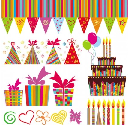 handpainted elements birthday 04 vector