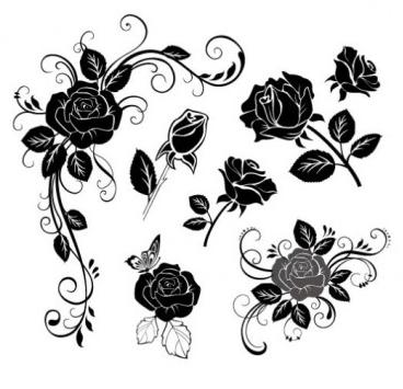 handpainted flowers 02 vector