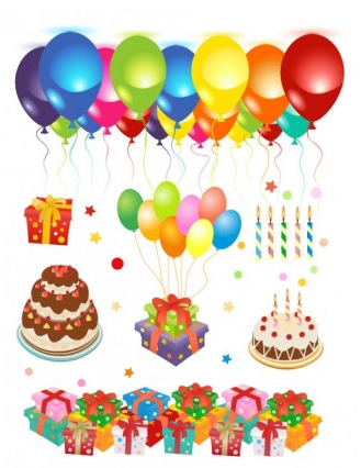 happy birthday clip art set vector
