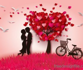 heart tree with lover and bike vector
