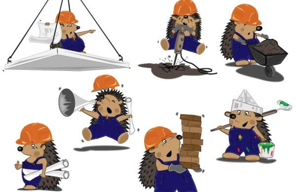 hedgehog and architectural drawings vectors graphic