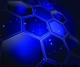 hexagon shape with blue background vectors