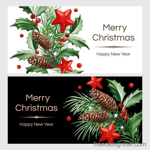 holly with christmas and new year card template vector 01