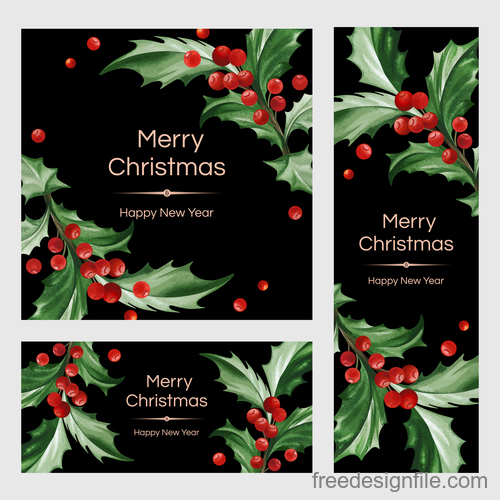 holly with christmas and new year card template vector 02