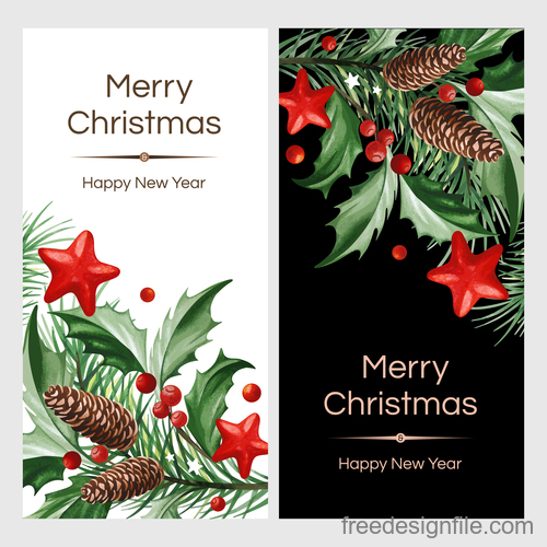 holly with christmas and new year card template vector 03