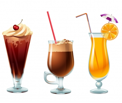 ice cream orange and coffee Free vectors graphics