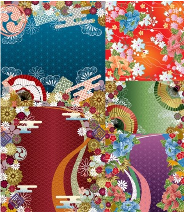 japanese wind pattern background design vector