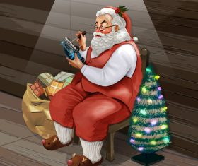 kindly santa claus and xmas gift vector