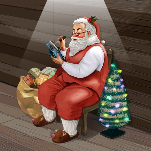 kindly santa claus and xmas gift vector