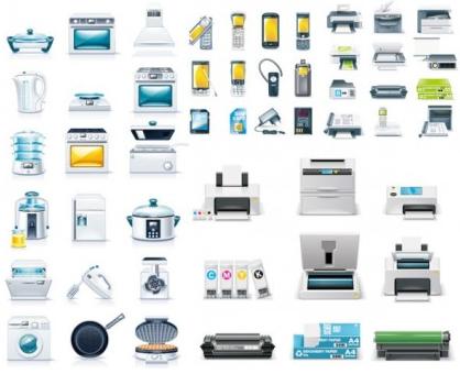kitchen appliances office icon design vectors