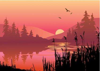 lake at dusk set vector