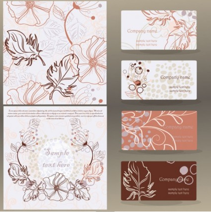 leaves pattern business card 01 vector