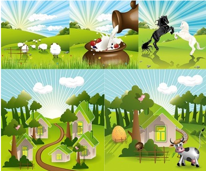lovely countryside farm vector