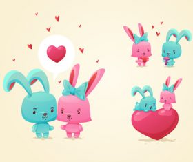 lovely rabbit with heart vectors