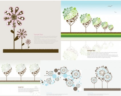 lovely trees flowers vector