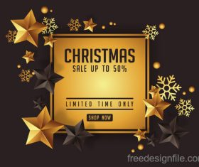 luxury christmas greetings with golden stars vector