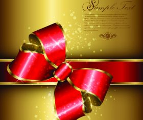 luxury golden background and red bows vector