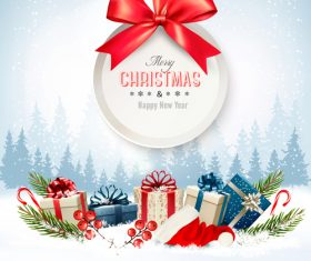 merry christmas background with colorful presents and gift card with bow vector