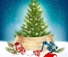 merry christmas getting card with christmas presents and tree vector