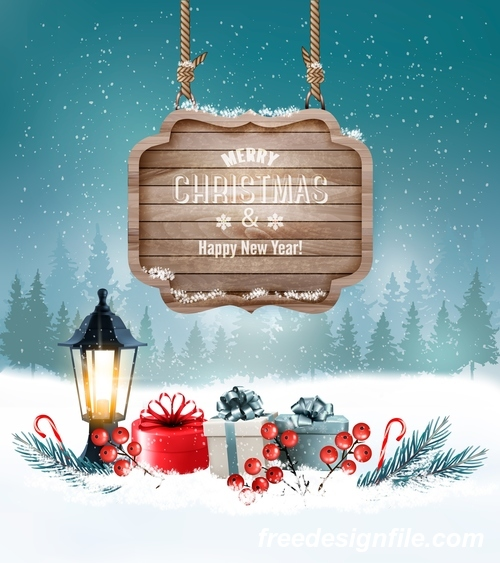 merry christmas greeting card with winter landscape and wooden sign vector