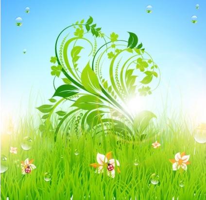 pattern green grass 02 vector