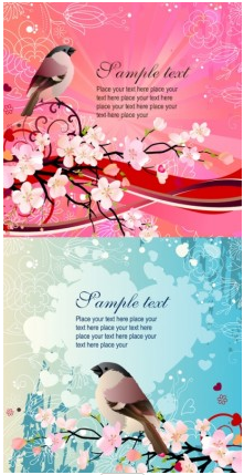 peach birds background vector graphics
