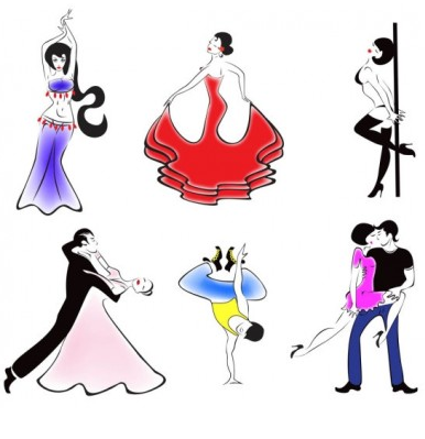 people dancing silhouette 01 set vector