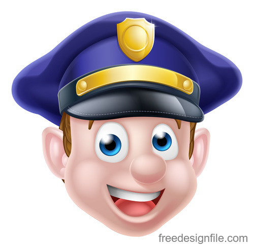 police cartoon face illustration vector