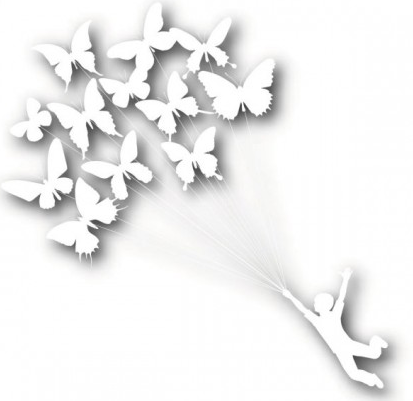 put butterfly kite silhouette vectors
