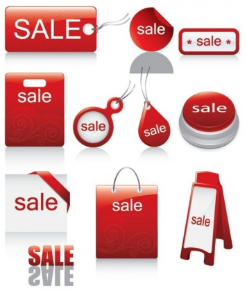 red iconsales discount vector