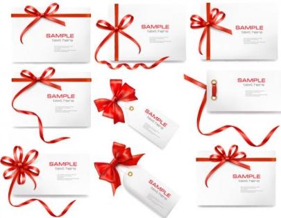 red ribbon card 02 shiny vector