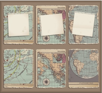 retro classic map 02 vectors graphics
