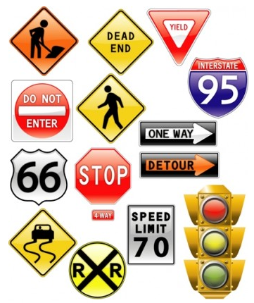 road signs traffic light vector