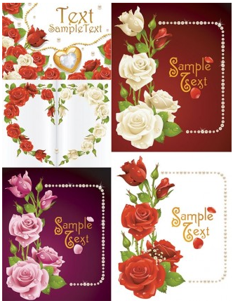 romantic roses greeting cards creative vector