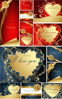 romantic valentine day greeting card design vector
