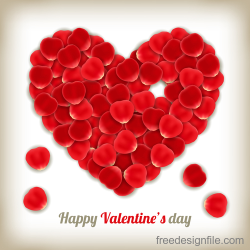 rose petal heart valentine day card template vector