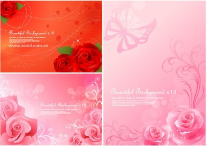 roses background vector set