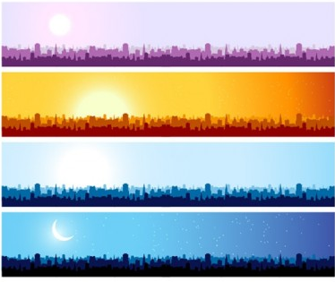 silhouette banner background art vectors