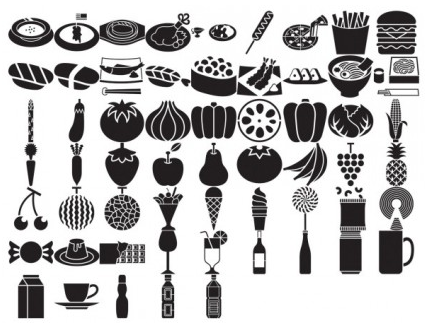 silhouette food category vector