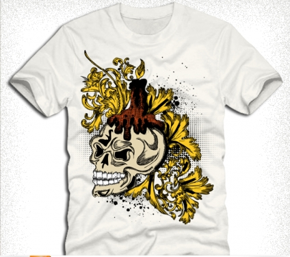 skull and floral tshirt design Free vector design